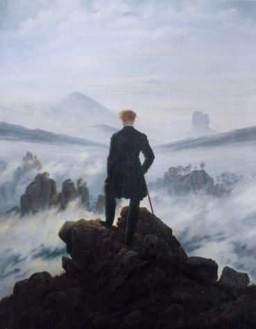 schilderij Der Wanderer über dem Nebelmeer van Caspar David Friedrich - publiek domein wikimedia commons foto door Cybershot800i.jpg
